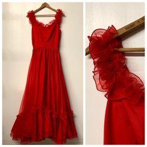 VTG Red Full Length Prairie Cha Cha 80s Prom Dress